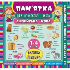 Пам'ятка для початкової школи - Англійська мова. Базова лексика. 1-4 класи