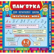 Пам'ятка для початкової школи - Українська мова. 1-2 класи