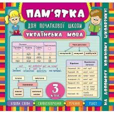 Пам'ятка для початкової школи - Українська мова. 3 клас