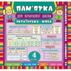 Пам'ятка для початкової школи - Українська мова. 4 клас