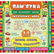 Пам'ятка для початкової школи - Синоніми, антоніми, омоніми, фразеологізми. 1-4 класи