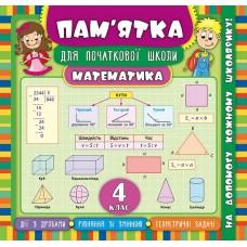 Пам'ятка для початкової школи - Математика. 4 клас